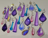 24 Aurora Borealis Deep Pastel AB Chandelier Drops Parts Cut Glass Crystals Beads Mixed Bundle Droplets 2