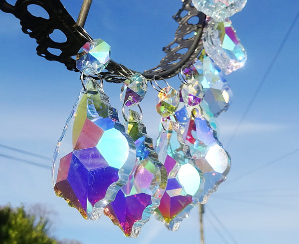 "12 Aurora Borealis Leaf 50 mm 2"" Chandelier Crystals Drops Beads Droplets Christmas Wedding Decorations 12"