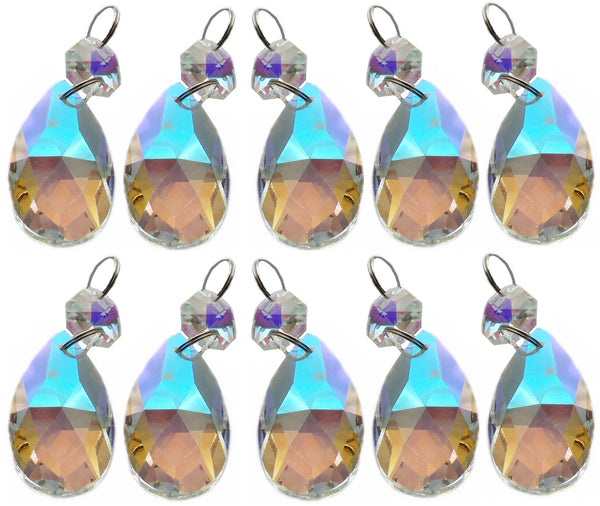 "Aurora Borealis 37 mm 1.5"" Oval Chandelier Cut Glass Crystals Drops Beads AB Droplets 7"