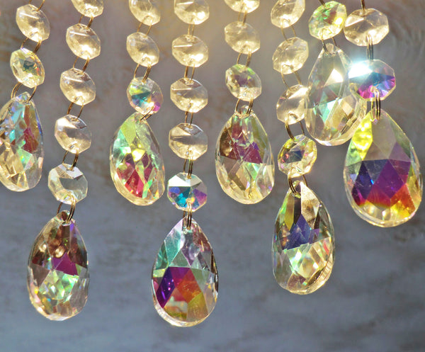 "1 Aurora Borealis 37 mm 1.5"" Oval Chandelier Cut Glass Crystals Drops Beads AB Droplets Light Parts"