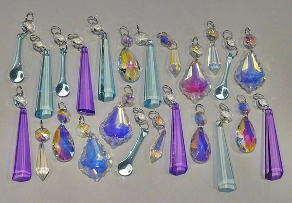 24 Aurora Borealis Pastel AB Chandelier Drops Parts Cut Glass Crystals Beads Mix Bundle Droplets 4