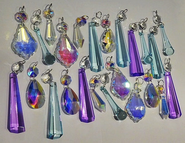 24 Aurora Borealis Pastel AB Chandelier Drops Parts Cut Glass Crystals Beads Mix Bundle Droplets 2