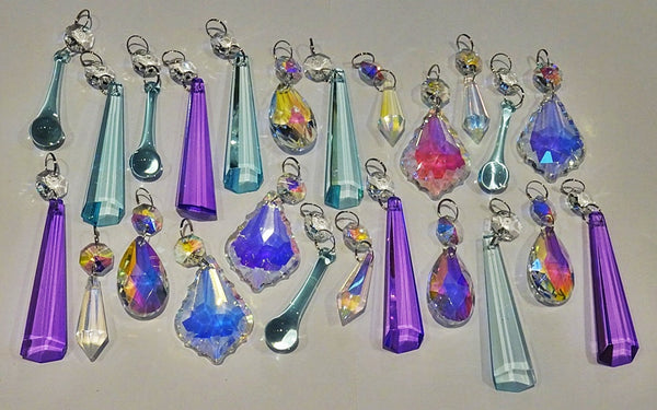 24 Aurora Borealis Pastel AB Chandelier Drops Parts Cut Glass Crystals Beads Mix Bundle Droplets 5