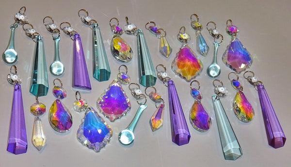 24 Aurora Borealis Pastel AB Chandelier Drops Parts Cut Glass Crystals Beads Mix Bundle Droplets 6