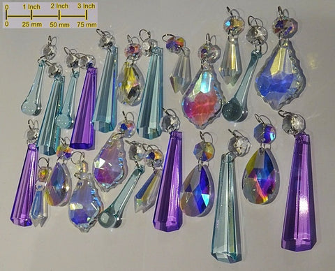 24 Aurora Borealis Pastel AB Chandelier Drops Parts Cut Glass Crystals Beads Mix Bundle Droplets
