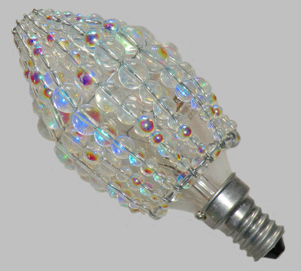 Chandelier Bead Candle Size Light Bulb Aurora Borealis AB Glass Cover Sleeve Lampshade Alternative Beaded 4