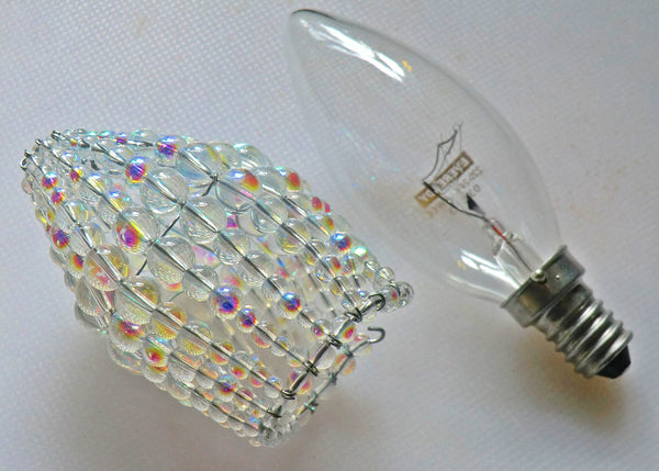Chandelier Bead Candle Size Light Bulb Aurora Borealis AB Glass Cover Sleeve Lampshade Alternative Beaded 3