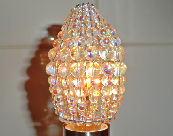 Chandelier Bead Candle Size Light Bulb Aurora Borealis AB Glass Cover Sleeve Lampshade Alternative Beaded 9