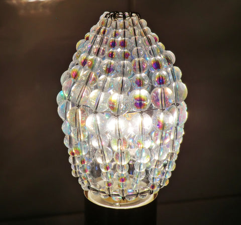 Aurora Borealis AB Glass Chandelier Beaded Lightbulb Candle Cover 4