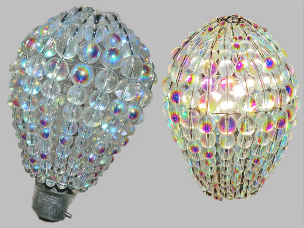 Chandelier Bead Light Bulb GLS Aurora Borealis AB Glass Cover Sleeve Lampshade Alternative Beaded