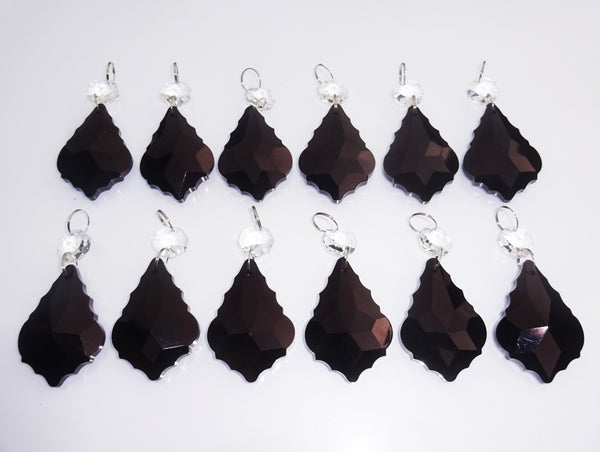 "12 Black Leaf 50 mm 2"" Chandelier Crystals Drops Beads Droplets Wedding Christmas Decorations 9"