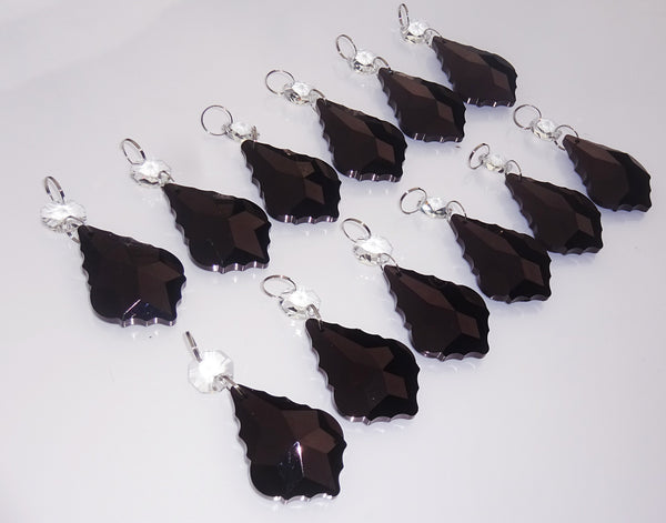 "12 Black Leaf 50 mm 2"" Chandelier Crystals Drops Beads Droplets Wedding Christmas Decorations 7"
