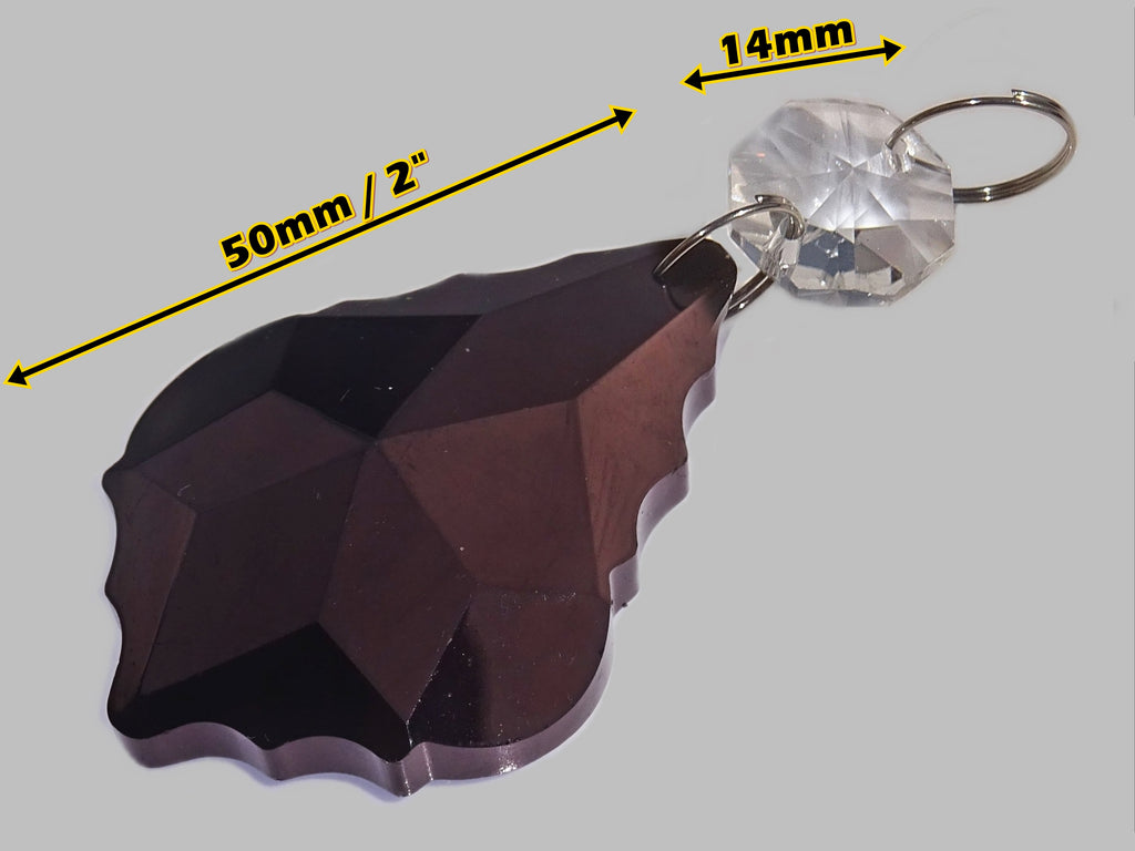 "Black Cut Glass Leaf 50 mm 2"" Chandelier Crystals Drops Beads Droplets Lamp Light Parts 1"