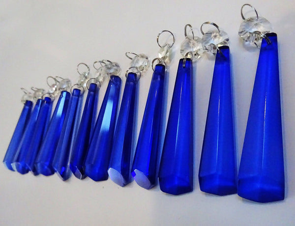 "12 Blue Icicles 72 mm 3"" Chandelier Crystals Drops Beads Droplets Garden Patio Decorations"