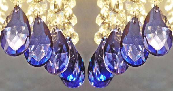 25 Royal Blue Chandelier Drops Cut Glass Crystals Beads Prisms Droplets Light Lamp Parts 10