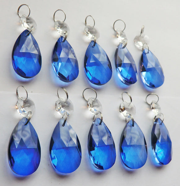 25 Royal Blue Chandelier Drops Cut Glass Crystals Beads Prisms Droplets Light Lamp Parts 7