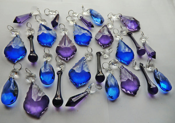 Mixed Bundle Royal Blue Purple Shapes 25 Chains Art Deco Vintage Gothic Look Chandelier Drops Parts Machine Cut Glass Crystals Shabby Droplets Upcycle Beads Charms Christmas Tree Wedding Decorations Bundle Feng Shui Sun Catchers
