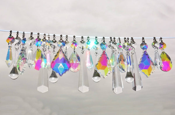 24 Aurora Borealis AB & Clear Chandelier Drops Glass Crystals Bundle Droplets Prisms 3