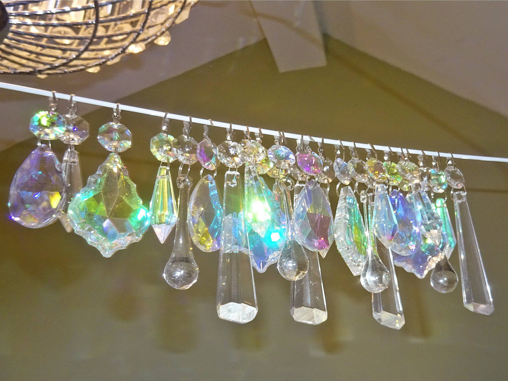 24 Aurora Borealis AB & Clear Chandelier Drops Glass Crystals Bundle Droplets Prisms 1