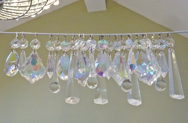 24 Aurora Borealis AB & Clear Chandelier Drops Glass Crystals Bundle Droplets Prisms 2