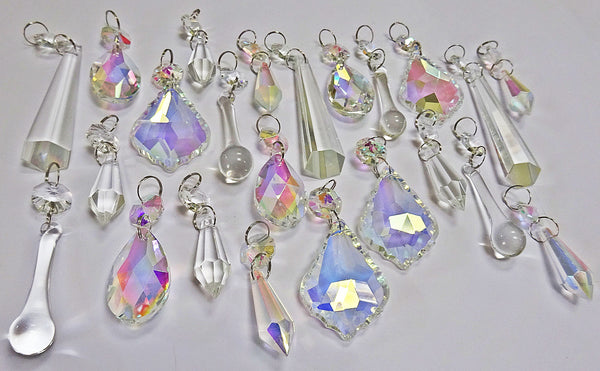 24 Aurora Borealis AB & Clear Chandelier Drops Glass Crystals Bundle Drops 9