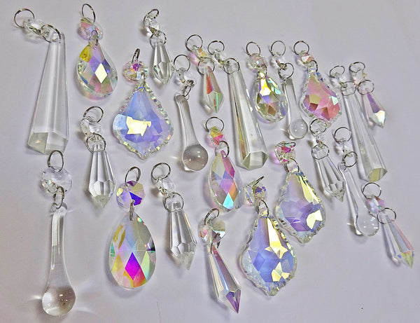 24 Aurora Borealis AB & Clear Chandelier Drops Glass Crystals Bundle Drops 4