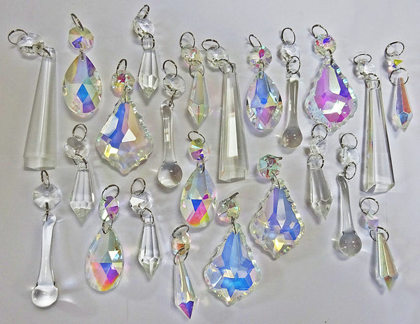 24 Aurora Borealis AB & Clear Chandelier Drops Glass Crystals Bundle Drops 7