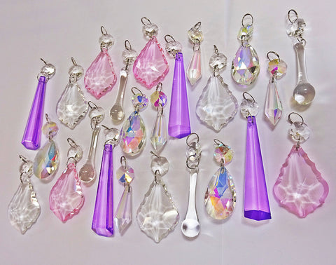 24 Aurora Borealis AB & Clear Pastel Chandelier Drops Cut Glass Crystals Bundle Droplets Beads