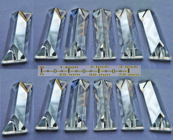 Clear Cut Glass Oblong 62 mm x 20 mm Coffin Chandelier Crystals Drops Beads Transparent Droplets 10