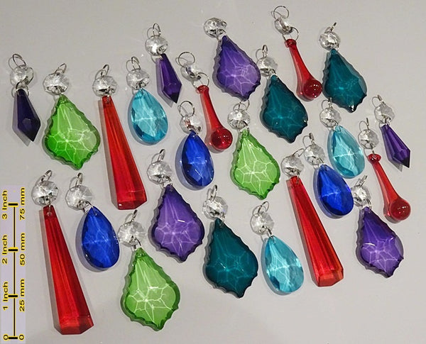 24 Chandelier Drops Mix 8 Designs Colours Cut Glass Crystals Beads Prisms Hanging Pendant Droplets 4