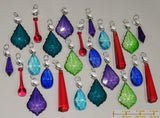24 Chandelier Drops Mix 8 Designs Colours Cut Glass Crystals Beads Prisms Hanging Pendant Droplets 1