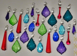 24 Chandelier Drops Mix 8 Designs Colours Cut Glass Crystals Beads Prisms Hanging Pendant Droplets 5