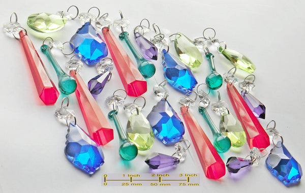 25 Chandelier Drops Cut Glass Crystals Beads Antique Deep Colour Prisms Hanging Pendant Droplets 4