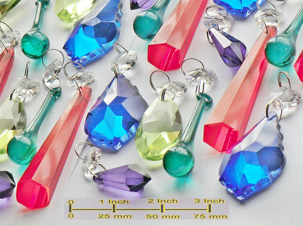 25 Chandelier Drops Cut Glass Crystals Beads Antique Deep Colour Prisms Hanging Pendant Droplets 5