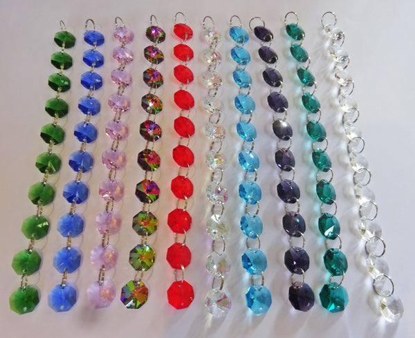 14mm Octagon Multiple Colours Multi Chandelier Drops Cut Glass Crystals Garlands Beads Droplets