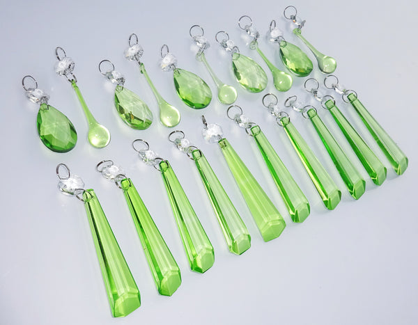 20 Sage Green Chandelier Drops Cut Glass Crystals Beads Prisms Droplets Light Lamp Parts 1