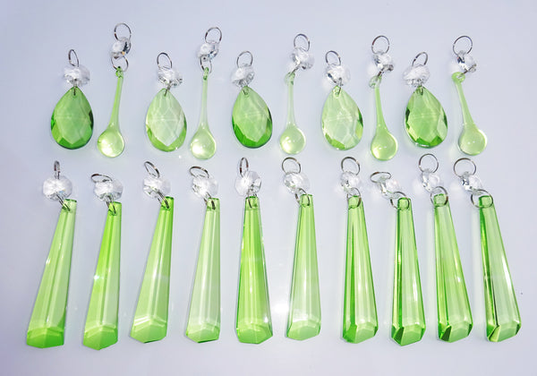 20 Sage Green Chandelier Drops Cut Glass Crystals Beads Prisms Droplets Light Lamp Parts 5