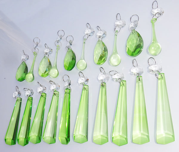 20 Sage Green Chandelier Drops Cut Glass Crystals Beads Prisms Droplets Light Lamp Parts 6