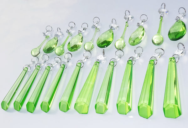 20 Sage Green Chandelier Drops Cut Glass Crystals Beads Prisms Droplets Light Lamp Parts 7
