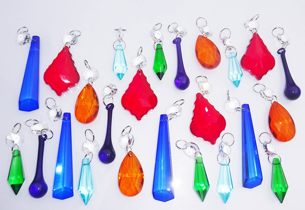 24 Chandelier Drops Mix 6 Designs Colours Cut Glass Crystals Beads Prisms Droplets Lamp Light Parts 4