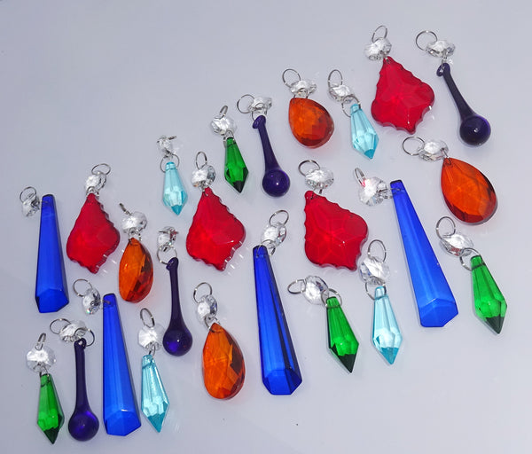 24 Chandelier Drops Mix 6 Designs Colours Cut Glass Crystals Beads Prisms Droplets Lamp Light Parts 6