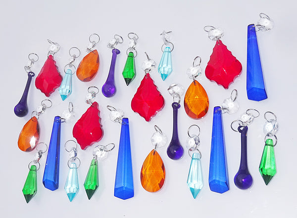 24 Chandelier Drops Mix 6 Designs Colours Cut Glass Crystals Beads Prisms Droplets Lamp Light Parts 1