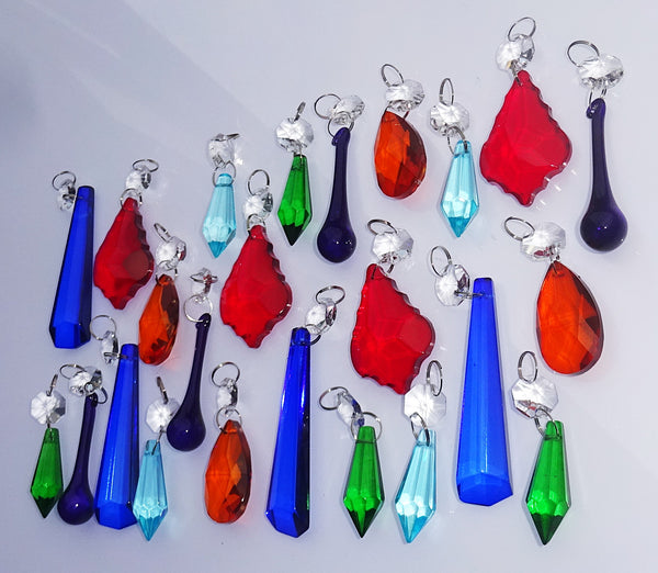 24 Chandelier Drops Mix 6 Designs Colours Cut Glass Crystals Beads Prisms Droplets Lamp Light Parts 2