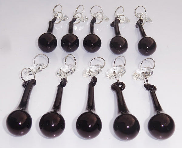"Black Cut Glass Orbs 53 mm 2"" Chandelier Crystals Droplets Beads Lamp Light Parts Drops 8"