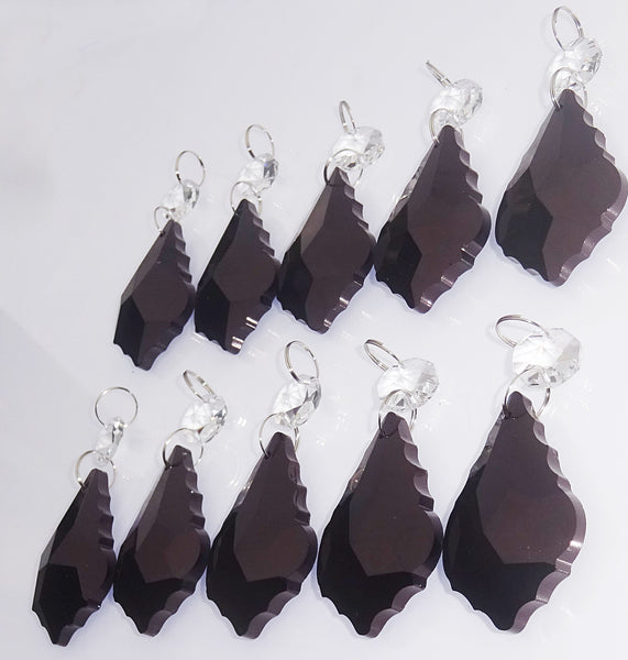 "Black Cut Glass Leaf 50 mm 2"" Chandelier Crystals Drops Beads Droplets Lamp Light Parts 8"