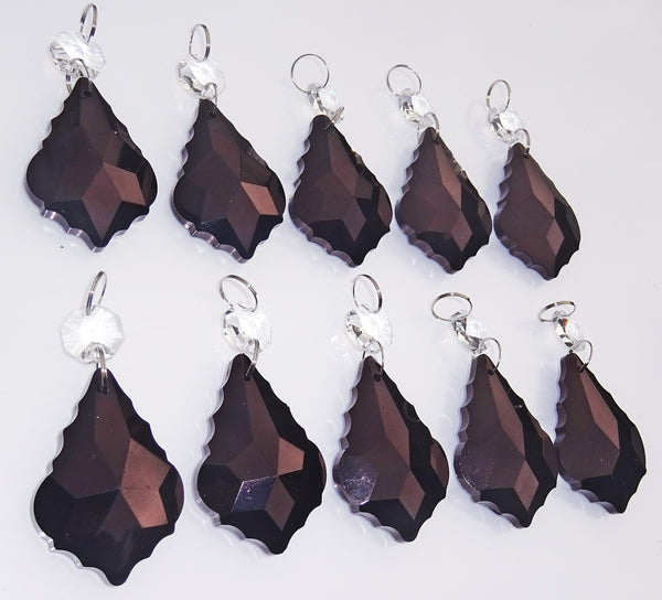 "Black Cut Glass Leaf 50 mm 2"" Chandelier Crystals Drops Beads Droplets Lamp Light Parts 9"