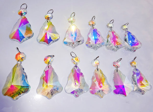 "12 Aurora Borealis 50mm 2"" Bell Chandelier Glass Crystals Beads AB Droplets Christmas Decorations 5"