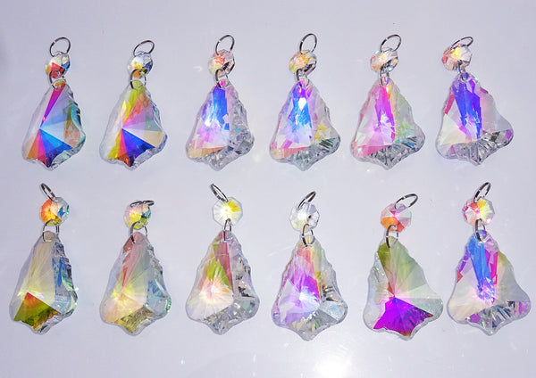 "12 Aurora Borealis 50mm 2"" Bell Chandelier Glass Crystals Beads AB Droplets Christmas Decorations 11"