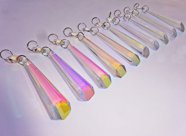 "Aurora Borealis 72 mm 3"" Icicle Chandelier Cut Glass Crystals Drops Beads AB Droplets Lamp Parts 10"