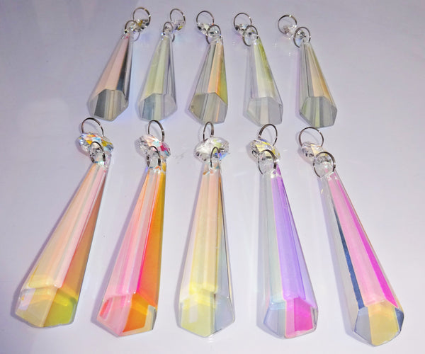 "Aurora Borealis 72 mm 3"" Icicle Chandelier Cut Glass Crystals Drops Beads AB Droplets Lamp Parts 11"